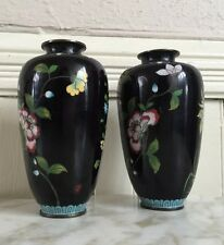 Antique 19c CHINA CHINESE Black Floral Vase Set PAIR CLOISONNE ENAMEL ON BRONZE