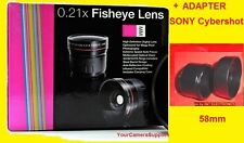 0.21x FISHEYE LENS + ADAPTER + HOOD SONY CYBERSHOT DSC-H1 H2 H5  58mm .21 x WIDE