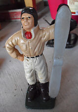"""Vintage Heavy Cast Iron Airplane Pilot with Propeller Bank 9"""" Tall  LOOK"""