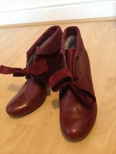 Burgundy Hush Puppies Ankle Boots Brogues Size 7 41 Plum Victorian High Heels