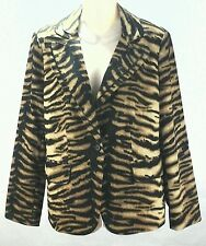 CHICO'S Animal Print Blazer Brown/Black Zebra Tiger Jacket Size 1 Medium/8