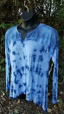 NWT PLUS XL TOP SHIRT BLOUSE TUNIC FEMININE SEXY ROMANTIC BOHO HIPPIE TYE DYED