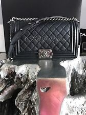 NWT CHANEL 2017 Boy Bag Black Caviar Old Medium Crossbody SILVER SOLDOUT FRANCE!
