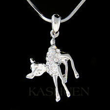 w Swarovski Crystal cute Baby ~BAMBI DEER fawn Charm Chain Necklace Jewelry Xmas