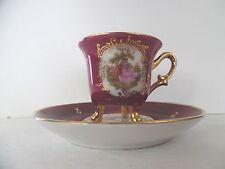 Amythest & Gold Porcelain Demitasse Cup Saucer Victorian Couple Limoges France