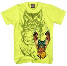 MARVEL WOLVERINE X RAGE BRIGHT YELLOW MEN'S MEDIUM T-SHIRT  #ska143