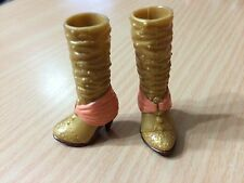 Barbie My Scene Fab Face Madison Doll Shoe Fashionista Bling Metallic Gold Boots