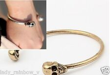 Fashion Europe Style Vintage Bronze Skull Heads Bangle Bracelets Goth Rock Punk