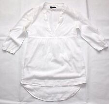 White Soft Cotton VERO MODA Loose Bohemian Ladies Blouse Top Tunic Size XS S