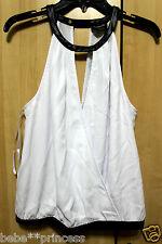 NWT bebe black white double v wrap cutout neck sexy dress top L large 10 party
