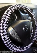 Handmade Steering Wheel Cover Black and White Houndstooth