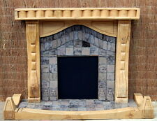 Unique Rustic Solid Oak Hand Carved Fireplace Surround and Fender W'/W'out Tiles