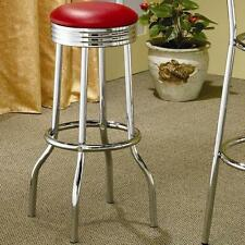 Retro Chrome and Red Swivel Soda Fountain Bar Stool by Coaster - Set of 2