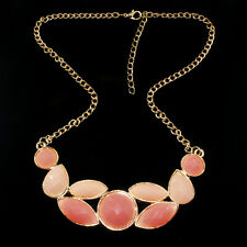 Free Hot New Fashion Jewelry Women Chain Chunky Statement Bib Necklace pink
