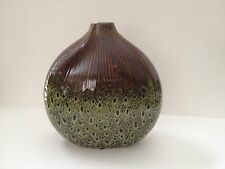 MYANMAR Globe Vase- Green/Brown-NWT- Great colors and design!