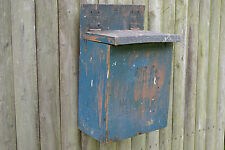 c1900 New England Primitive Wood B&C.Co. Milk & Cream Wall Box w/Orig Blue Paint