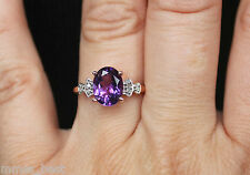 New Sz 5-8 10K 1.5ct Natural purple Amethyst & Diamond Engagement Ring Rose Gold