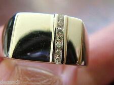 Anillo Sello Para Poner Inicial de Plata Antigua Con 7 Diamantes Verdaderos