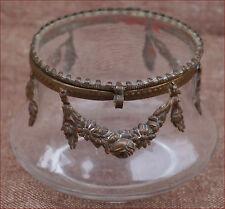 French Ormolu Brass Glass Jewel Box Flowered Garland 1900