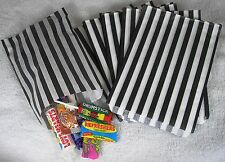 "100 Black & White Candy Stripe Paper Sweet Bags Wedding 5"" X 7"" Pick 'n' Mix Bag"
