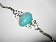 925 Sterling silver Huge Turquoise Art Nouveau Deco Butterfly statement Bracelet