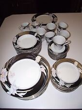 62pc Service for 12 ppl Dinner Plate &Soup Bowls China SET Mikasa Charisma Black