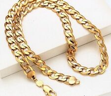 "Men,s 9ct 9K Yellow ""Gold Filled"" Curb Ring 22"" chain necklace W=10mm, ""Gift"""