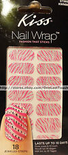 KISS 18 Nail Wrap COCKTAIL Art Strips/Appliques/Dress Pink/White Zebra 57385 2/2