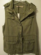 $99 Max Jeans Olive Green Khaki Tencel Military Style Long Jacket Vest M NWT