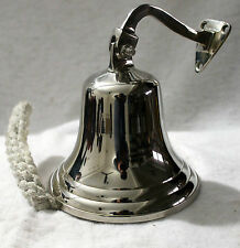 "6"" BRASS SHIP BELL WALL HANGING BRACKET PUB SCHOOL DINNER Nickel Finish"