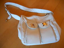 Marlene Gaines White Leather Shoulder Bag with Gold X Accents Tarzana, CA