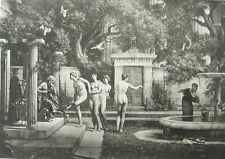 NAKED NUDE GIRLS WOMEN BREASTS ROMAN GARDEN, Antique 1893 Sexy Erotica Art Print