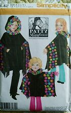 Simplicity Sewing Pattern 4442 Girl's Size S M L Fleece Poncho Uncut