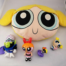 "Powerpuff Girls Plush BUBBLES Pillow 25"" and minifigures 1990s 2000 era girls"