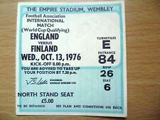 Ticket 1976 World Cup Qualifying Tournament ENGLAND v FINLAND 13 Oct Grop II