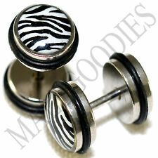 0153 Fake Cheater Faux Illusion Ear Plugs 16G Look 0G 8mm White Zebra Print