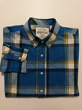 Aeropostale Mens Shirt Size M - Blue Plaid Long Sleeves Button Front & Collar
