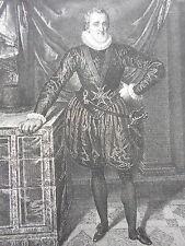 Portrait d' HENRI IV d'aprés PORBUS GRAVURE ORIGINALE  XIXéme