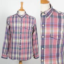 MENS RALPH LAUREN CHECK SHIRT PREPPY PINK  PLAID BUTTON DOWN COLLAR OXFORD M