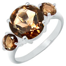4.3cts Smoky Quartz 925 Sterling Silver Ring Jewelry s.6 R5067S-6