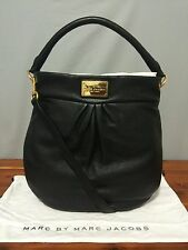 """NWT!!! Marc Jacobs """"Classic Q Hillier"""" Leather Hobo Handbag - Black with Gold"""
