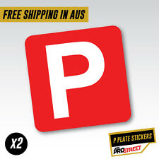RED P PLATE X2 CAR STICKER DECAL Drift Turbo Euro Fast Vinyl #0705