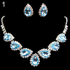 Love Wedding Bridal Crystal Rhinestone Waterdrop Necklace Earring Jewelry Set