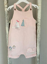 Baby Girl Next Dungaree Romper Size 3-6 Months Pink Whale Summer Beach Hut