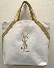 YSL Yves Saint Laurent Parfums White Gold Canvas Handbag Tote Beach Bag