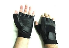 XL SIZE MENS LEATHER FINGERLESS GYM WEIGHTLIFTING FITNESS WORKOUT GLOVES NEW
