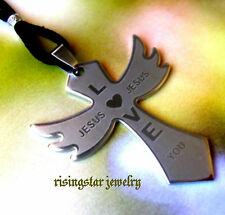 Men Jesus Love You Stainless Steel Angel Wing + Bible Surfer Character Necklace