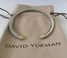 David Yurman Sterling Silver & 18k Gold Diamond 5mm Bangle Bracelet