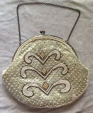Beaded Vintage Purse Small Chain Hand Strap Push Close