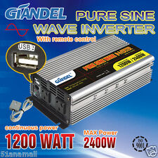 Pure Sine Wave Inverter 1200W/2400W 12V-240V With Remote Controller +1A USB